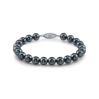 Radiance Pearl 14k Gold AAA-quality Black Akoya Pearl Bracelet (6-6.5mm)