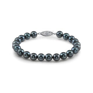 Radiance Pearl 14k Gold AAA-quality Black Akoya Pearl Bracelet (6.5-7mm)