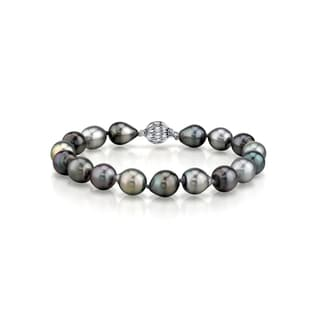 Radiance Pearl 14k Gold Multicolor Drop-Shape Tahitian South Sea Pearl Bracelet (9-10mm)