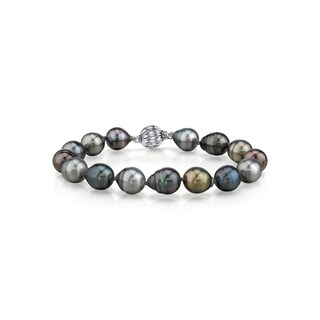 Radiance Pearl 14k Gold Multicolor Baroque Tahitian South Sea Pearl Bracelet (9-10mm)