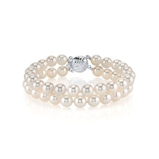 Radiance Pearl 14k Gold AAA-quality White Akoya Pearl Double Strand Bracelet (6-6.5mm)