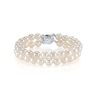 Link to Radiance Pearl 14k Gold AAA-quality White Akoya Pearl Double Strand Bracelet (6.5-7mm) Similar Items in Bracelets
