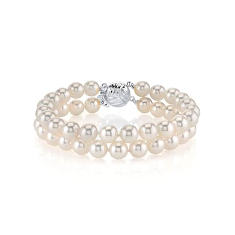 Radiance Pearl 14k Gold AAA-quality White Akoya Pearl Double Strand Bracelet (7-7.5mm)