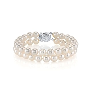Radiance Pearl 14k Gold AAA-quality White Freshwater Pearl Double Strand Bracelet (8-9mm)