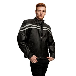 Men's Double Striped Premium Leather Motorcycle Jacket