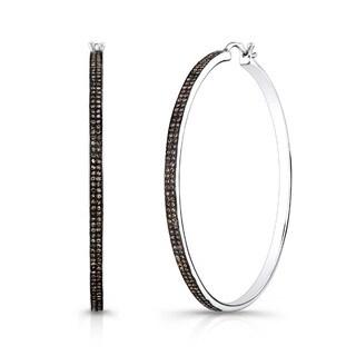 Victoria Kay Sterling Silver 1 2/5ct TDW Brown Diamond Hoop Earrings
