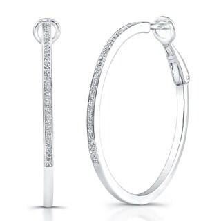 Victoria Kay Sterling Silver 1/4ct TDW Diamond Hoop Earrings