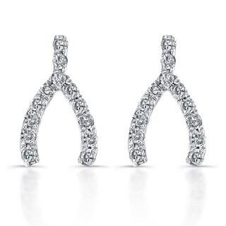 Victoria Kay 14k White Gold 1/10ct TDW Diamond Wishbone Earrings