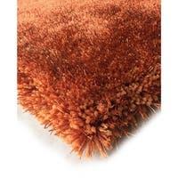 Handmade Orange Rust Shag Area Rug - 5' x 7'