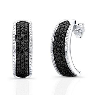 Victoria Kay 14k White Gold 1/4ct TDW Black Diamond Half-hoop Earrings
