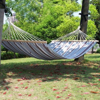 Adeco Naval-style Blue 2-person Hammock with Spreaders Bar