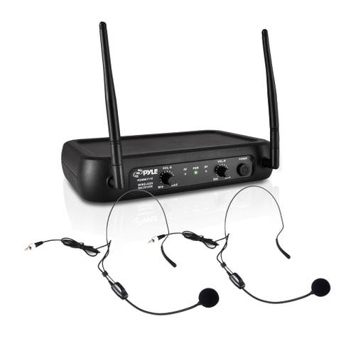 Pyle PDWM2145 VHF Fixed Frequency Wireless Microphone System 2 Body-Pack Transmitters 2 Lavalier and 2 Headset Mics