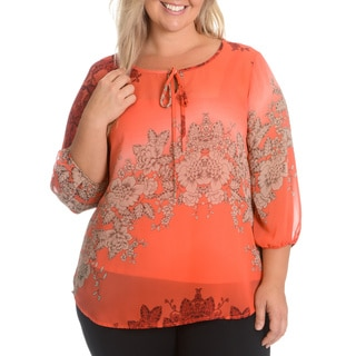 Adiva Women's Plus Size Sheer Overlay with Cami Top