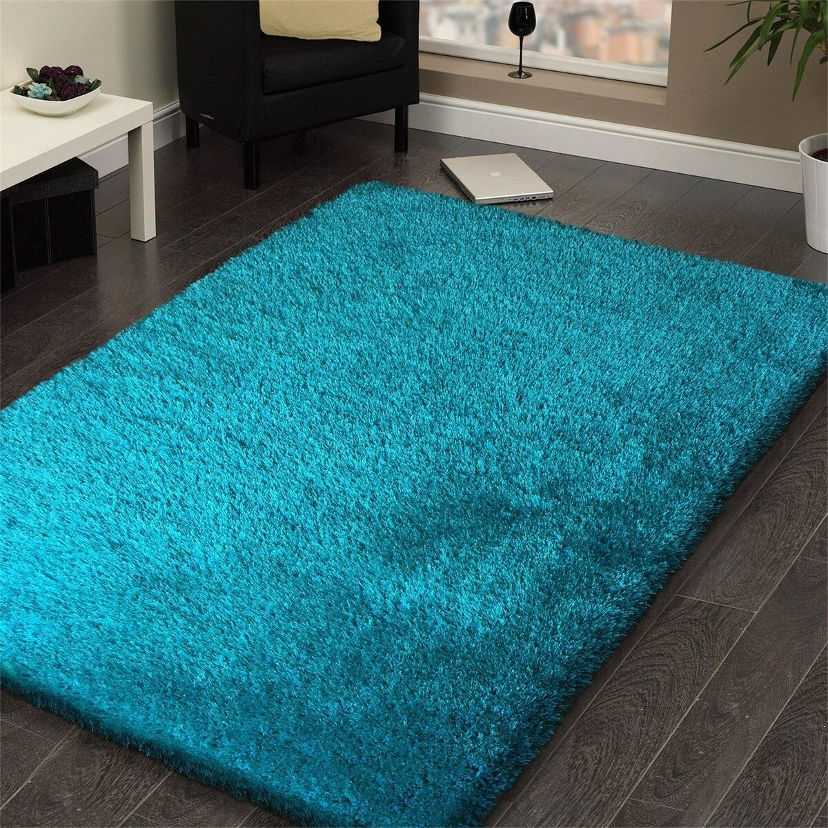 Handmade Turquoise Shag Area Rug (5' x 7') (Turquoise), B...