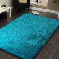 Handmade Turquoise Shag Area Rug - 5' x 7'