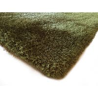 Handmade Hunter Green Shag Area Rug - 5' x 7'