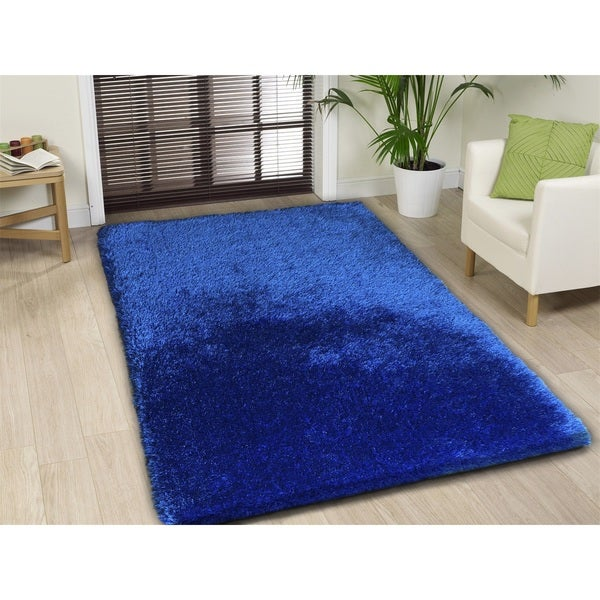 Handmade Electric Blue Shag Area Rug 5 X 7