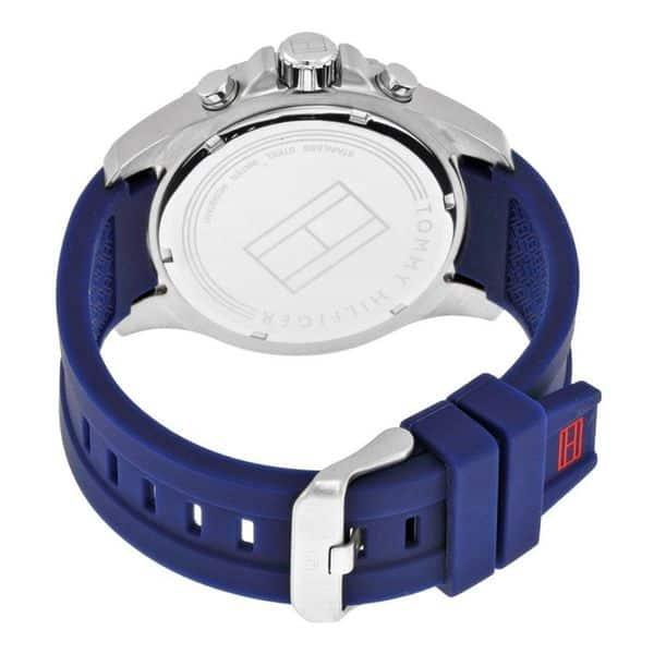 despierta Suplemento maíz  Shop Tommy Hilfiger Men's 1791142 Sport Round Blue Silicone Strap Watch -  Overstock - 10529273