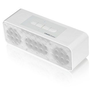 White Portable Bluetooth Stereo Speaker with Speaker Phone Function