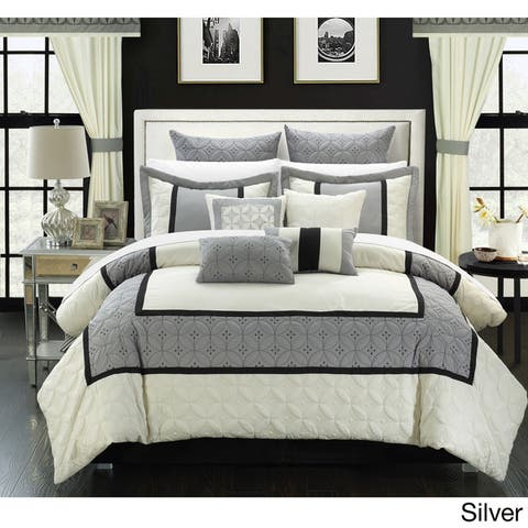 Chic Home 25-piece Aideen Quilted Embroidered Room in a Bag Comforter, Sheet and Window Set