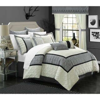 Chic Home 25-piece Aideen Quilted Embroidered Room in a Bag Comforter, Sheet and Window Set (3 options available)