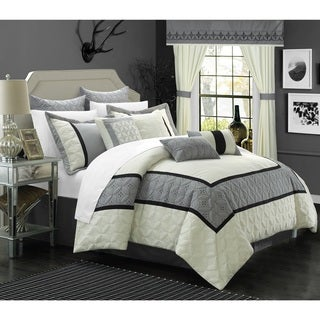 Chic Home 25-piece Aideen Quilted Embroidered Room in a Bag Comforter, Sheet and Window Set (2 options available)