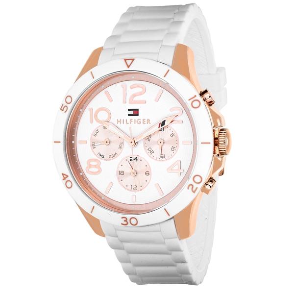 6d7509365 Shop Tommy Hilfiger Women's Sport Round White Silicone Strap Watch ...