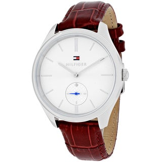 Tommy Hilfiger Women's 1781574 Sofia Round Red Leather Strap Watch