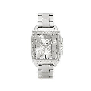 Coach Women's 14501473 Boyfriend Square Silvertone Stainless Steel Bracelet Watch