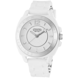 Coach Women's 14501476 Boyfriend Round White Silicone Strap Watch