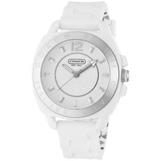Coach Women's 14501476 Boyfriend Round White Silicone Strap Watch
