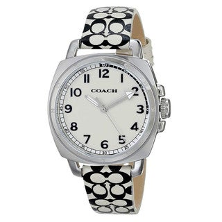 Coach Women's 14501999 Boyfriend Round White Leather with Black Printed Signature Graphic Strap Watch