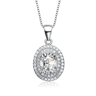 Collette Z Sterling Silver Cubic Zirconia Oval Halo Necklace