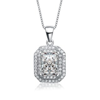 Collette Z Sterling Silver Cubic Zirconia Radiant Cushion Halo Necklace