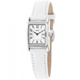 Coach Women's 14502123 Boyfriend Square White Leather Strap Watch