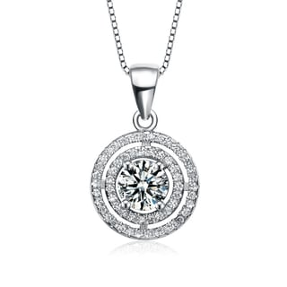 Collette Z Sterling Silver Cubic Zirconia Round Halo Necklace