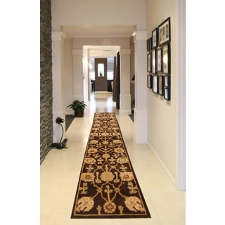 Herat Oriental Indo Hand-tufted Tibetan Dark Brown/ Gold Wool Rug (2'3 x 12')