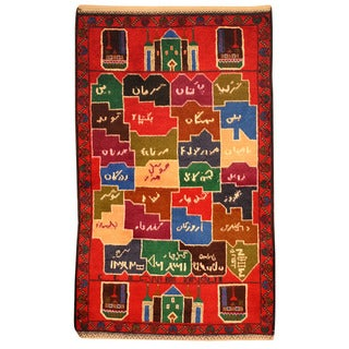 Herat Oriental Afghan Hand-knotted Tribal Balouchi Multicolor Wool Rug (2'10 x 4'8)