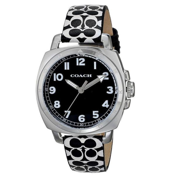 db401f9cd Shop Coach Women's 14502000 Boyfriend Round Black Leather with Blue Printed  Signature Graphic Strap Watch - Free Shipping Today - Overstock - 10529389