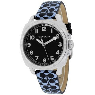Coach Women's 14502000 Boyfriend Round Black Leather with Blue Printed Signature Graphic Strap Watch