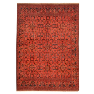 Herat Oriental Afghan Hand-knotted Tribal Khal Mohammadi Red/ Navy Wool Rug (5'8 x 7'9)