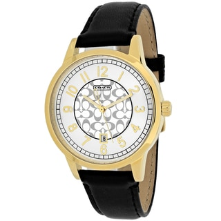 Coach Women's 14000036 Dfs Pair Round Black Leather Strap Watch