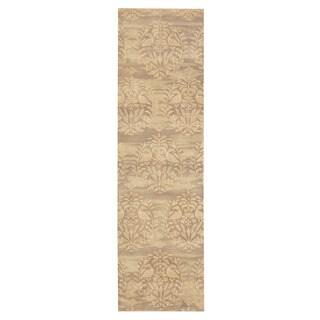 Herat Oriental Indo Hand-tufted Tibetan Gray/ Beige Wool Rug (2'6 x 8'10)