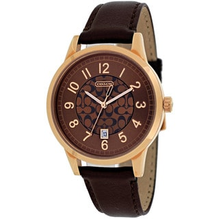 Coach Women's 14000035 Classic Signature Round Brown Leather Strap Watch
