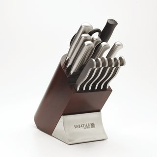 Sabatier 15-piece Stainless Steel Metal and Cherry Wood Block