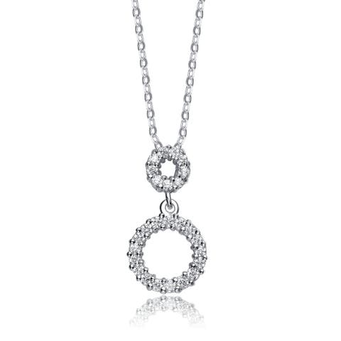Collette Z Sterling Silver Cubic Zirconia Double Cirlce Drop Necklace