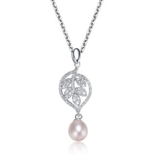 Collette Z Sterling Silver Cubic Zirconia Leaf Drop Pearl Necklace