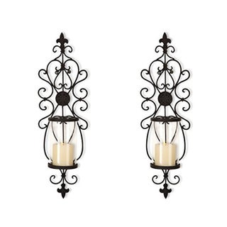 Adeco Iron and Glass Vertical Wall Hanging Candle Holder Sconce. Opens flyout.