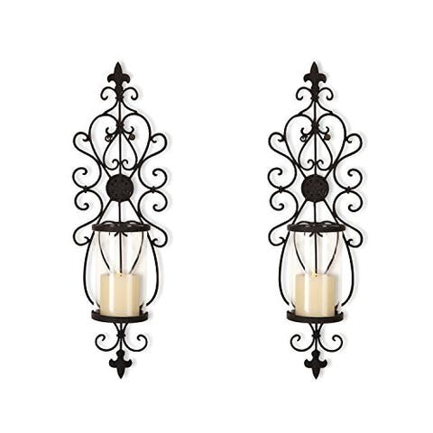 Adeco Iron and Glass Vertical Wall Hanging Candle Holder Sconce