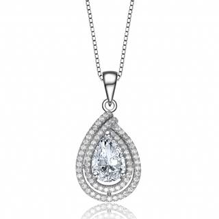 Collette Z Sterling Silver Cubic Zirconia Tear Drop Halo Cross Over Necklace